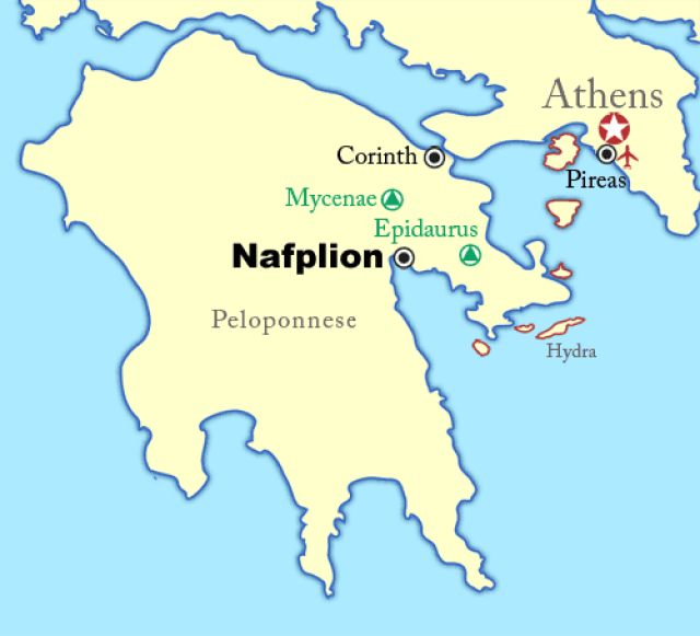 Nafplion, Sometimes Written Nafplio, Is A Seaport Town In Greece, Located  On Argolikos Bay In The Northeast Peloponnese (see A Map Of The  Peloponnese).