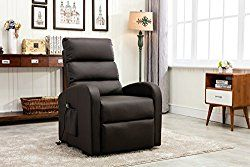 Divano Roma Furniture – Classic Plush Bonded Leather Power Lift Recliner Living Room Chair (Brown)