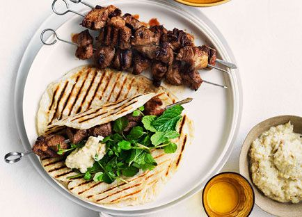 Grilled cumin and chilli lamb skewers with smoky eggplant pure arabic food recipes grilled cumin and chilli lamb skewers with smoky eggplant pure recipe forumfinder Image collections