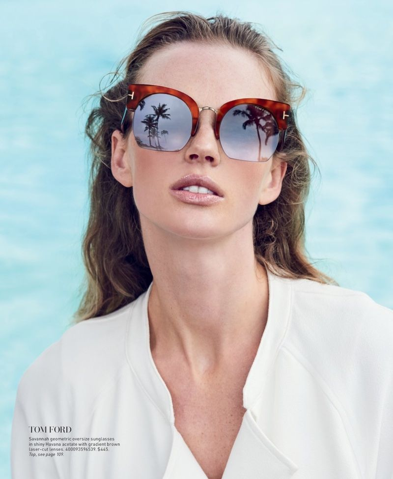 39c482352e Anne Vyalitsyna Models the Season s Must-Have Sunglasses from Saks ...