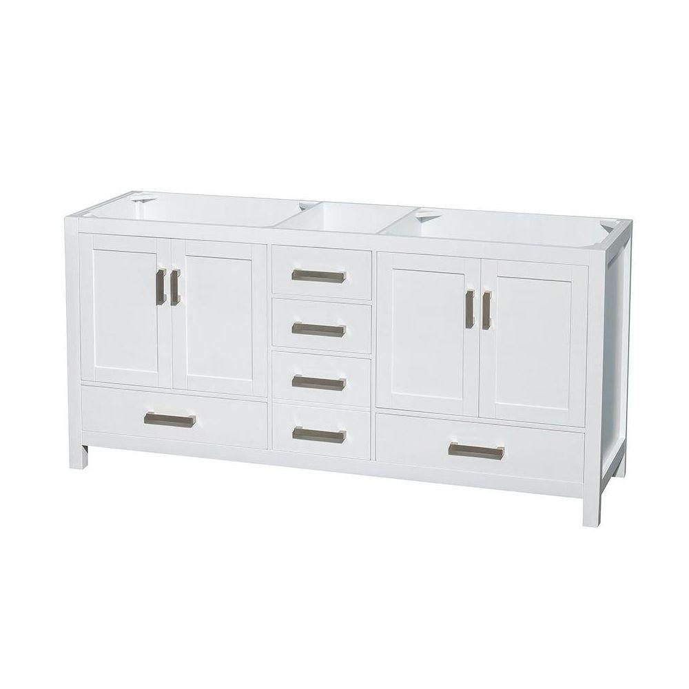 Wyndham Collection Sheffield 72 In Double Vanity Cabinet In White