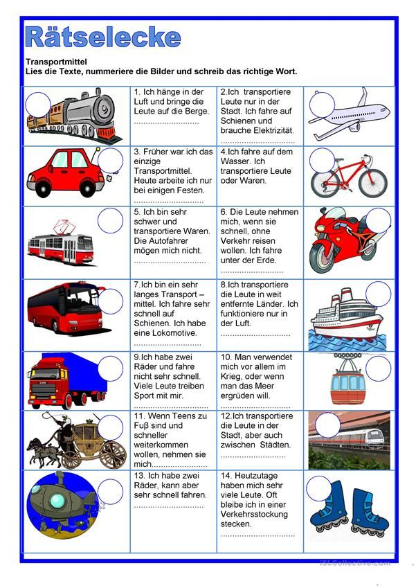 Rätselecke - Transportmittel | German | Pinterest | Deutsch, Lernen ...