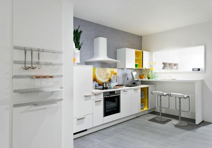 küchendesign nolte küche gelbe akzente weiße kücheneinrichtung