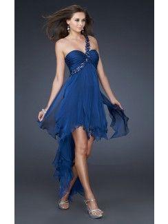 Vestidos azules cortos con cola