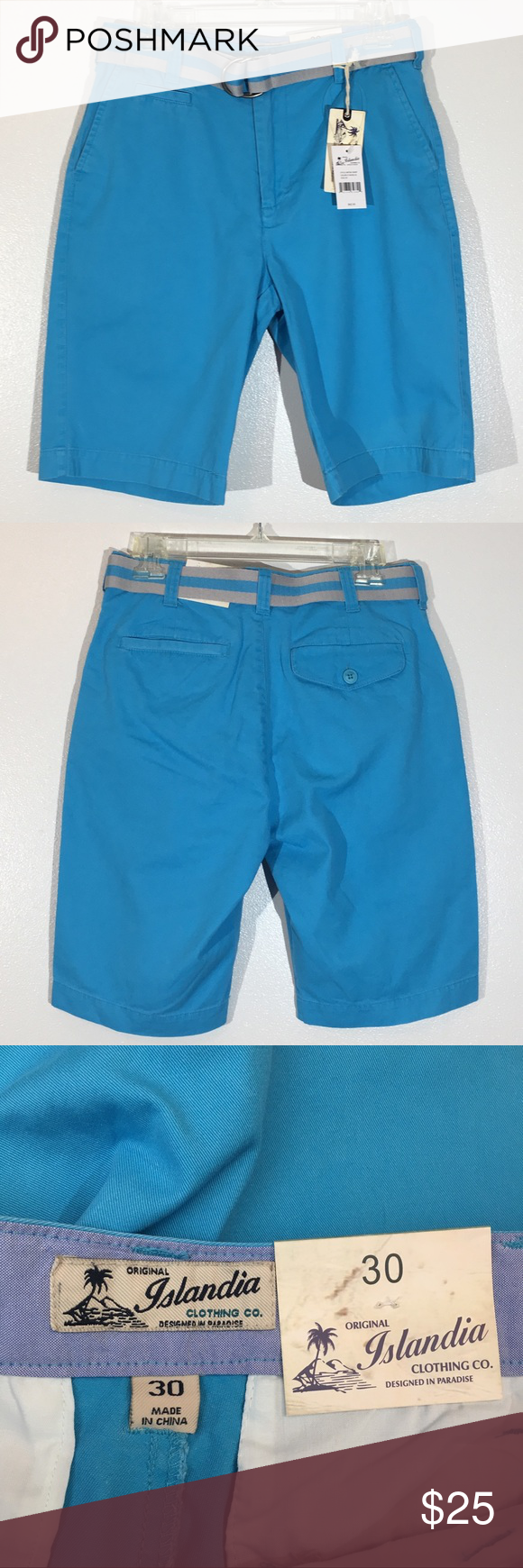 "Islandia light blue flat front shorts w/belt - 30 Brand new with tags Flat from light blue shorts with and attached adjustable/removable belt  Waist 15"" Inseam 10.5"" Out seam 21.5"" Islandia Shorts Flat Front #lightblueshorts"