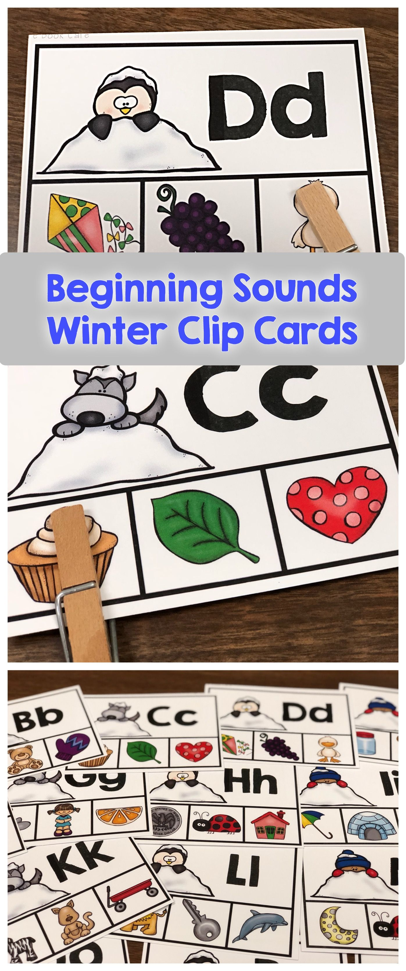 Beginning Sounds Winter Clip Cards
