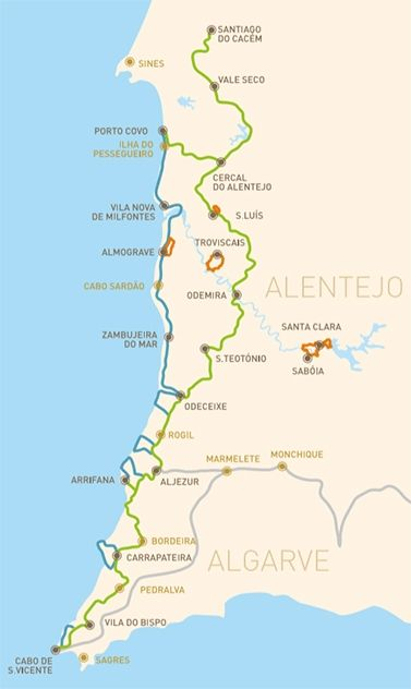 Rota Vicentina is a network of walking trails in Sw Portugal, totalling 400 km to walk. Fully within Sw Alentejo and Vicentina Coast Natural Park.