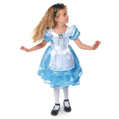 The perfect costume for unbirthdays and fancy dress parties, this classic Alice Costume brings the character to life, with a beautiful satin skirt and net underlay, puffed sleeves and gemstone button detailing.