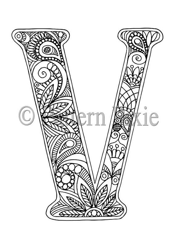 Adult Colouring Page Alphabet Letter V by PatternPixie on