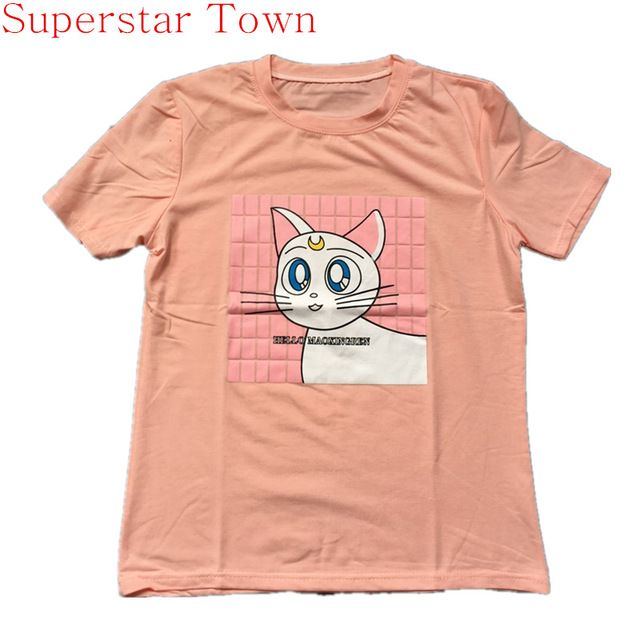 2016 Verão Dos Desenhos Animados T camisa Feminina New Sailor Moon LUNA  Harajuku Lolita gato camiseta de Manga Curta de Algodão Bonito Miau estilo  ... 504df9fddd2