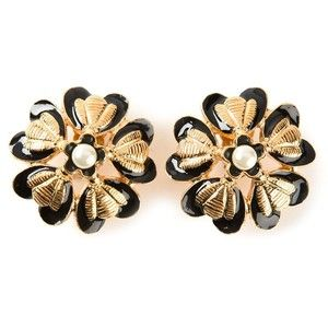 CHANEL VINTAGE floral clip on earrings