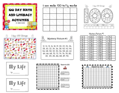 FREE 100th Day of School Math & Literacy Printables