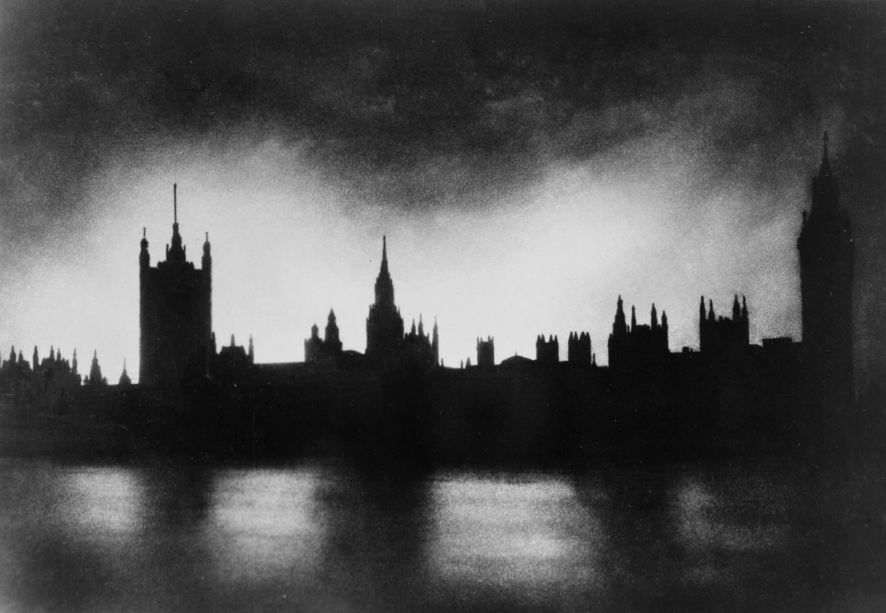 Ww2 O Palace Of Westminster London Is Silhouetted By Fires Caused The German Blitz