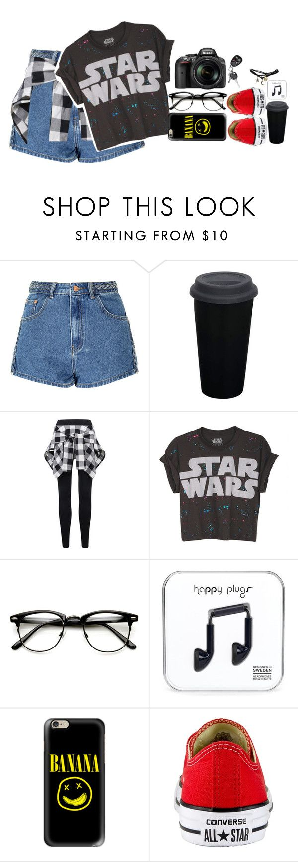 """""""Sem título #104"""" by malluh-salvatore ❤ liked on Polyvore featuring Glamorous, Nikon, Casetify, Converse and Wet Seal"""