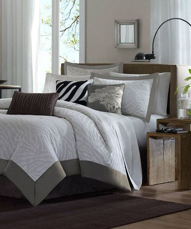 Another great find on #zulily! Gray McKenzie Jacquard Comforter Set #zulilyfinds