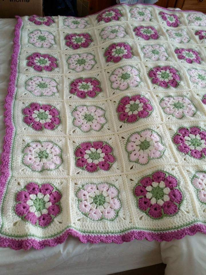 African Flower Square Tutorial For This Blanket Chunky Wool Size