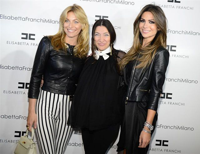 Elisabetta Franchi with Federica Fontana in our Spring '13 striped pants and leather jacket and Alessia Ventura in our cropped jacket at the Fall 2013 Collection Preview.  Get Federica's look > http://j.mp/ZcVXwF    Get Alessia's look > http://j.mp/ZcVZ7I