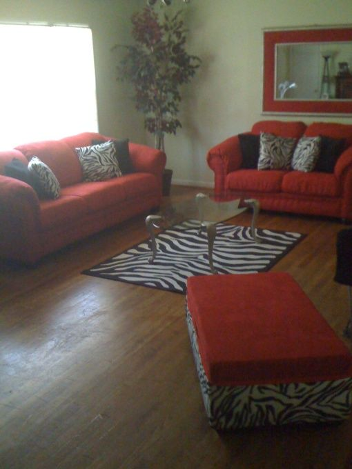 Red Hot living room with Zebra print accents,this is exactly the ...