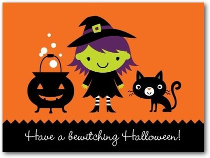 bewitching cauldron halloween cards for kids nancy kubo persimmon orange front - Halloween Kids Images