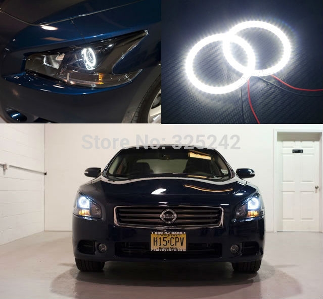 (30.00$)  Buy here - http://aibmr.worlditems.win/all/product.php?id=32382721215 - For Nissan Maxima 2010 2011 2012 Excellent led Angel Eyes Ultrabright illumination smd led Angel Eyes Halo Ring kit