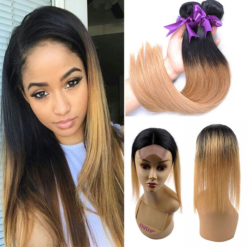 Ombre Peruvian Straight Human Hair Weave With Closure Two Tone 1b