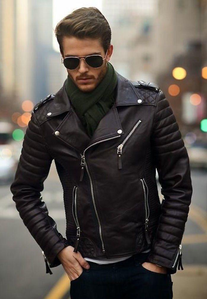 f355461f682 veste en cuir schott de motard type perfecto noir