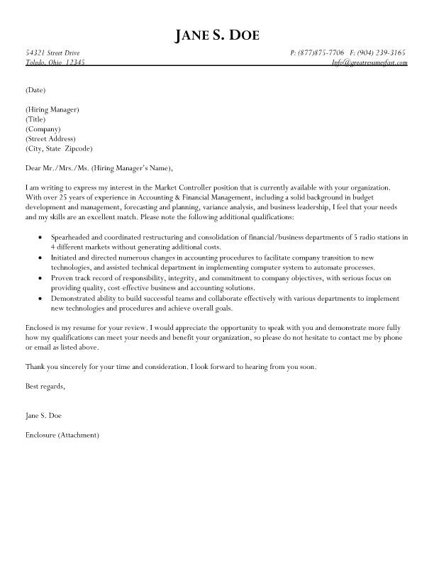 Bookkeeper Cover Letter Sample  HttpWwwResumecareerInfo