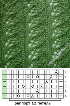 узор 304   каталог вязаных спицами узоров