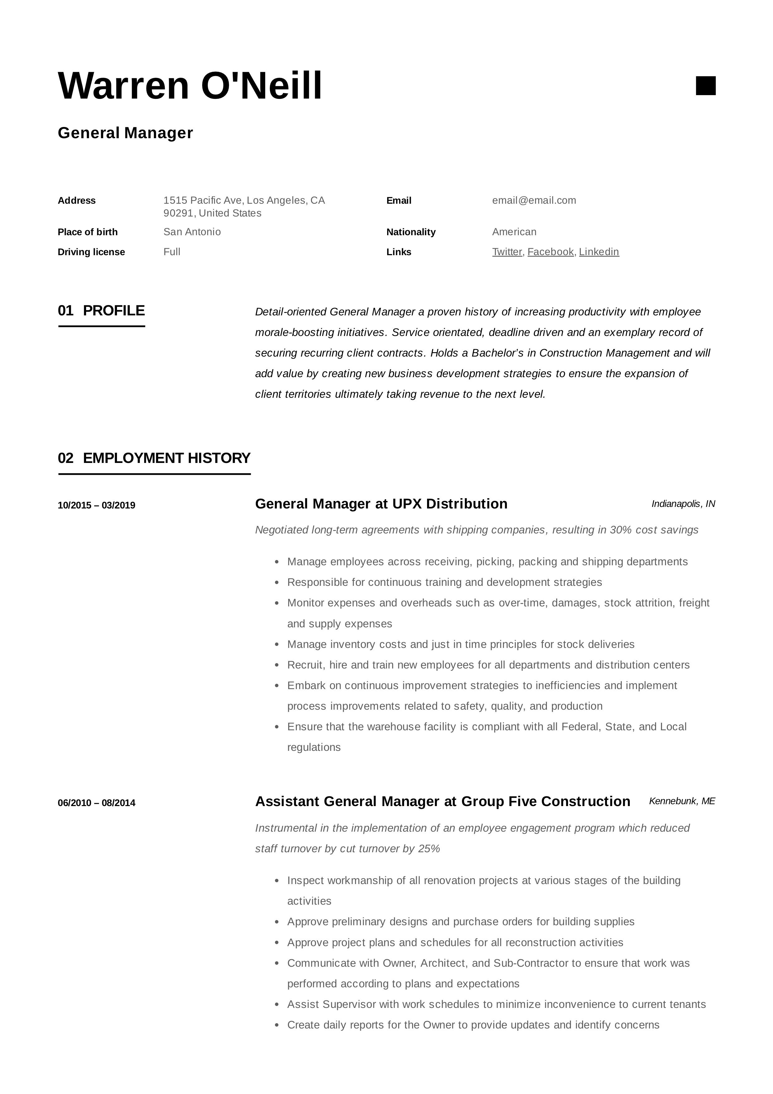 General Manager Resume Template Manager Resume Resume Examples Job Resume Examples