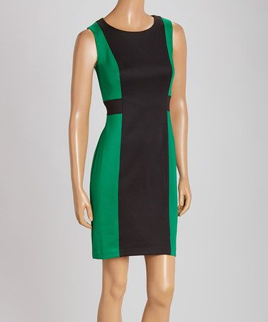 Another great find on #zulily! Green & Black Color Block Shift Dress by En Focus Studio #zulilyfinds