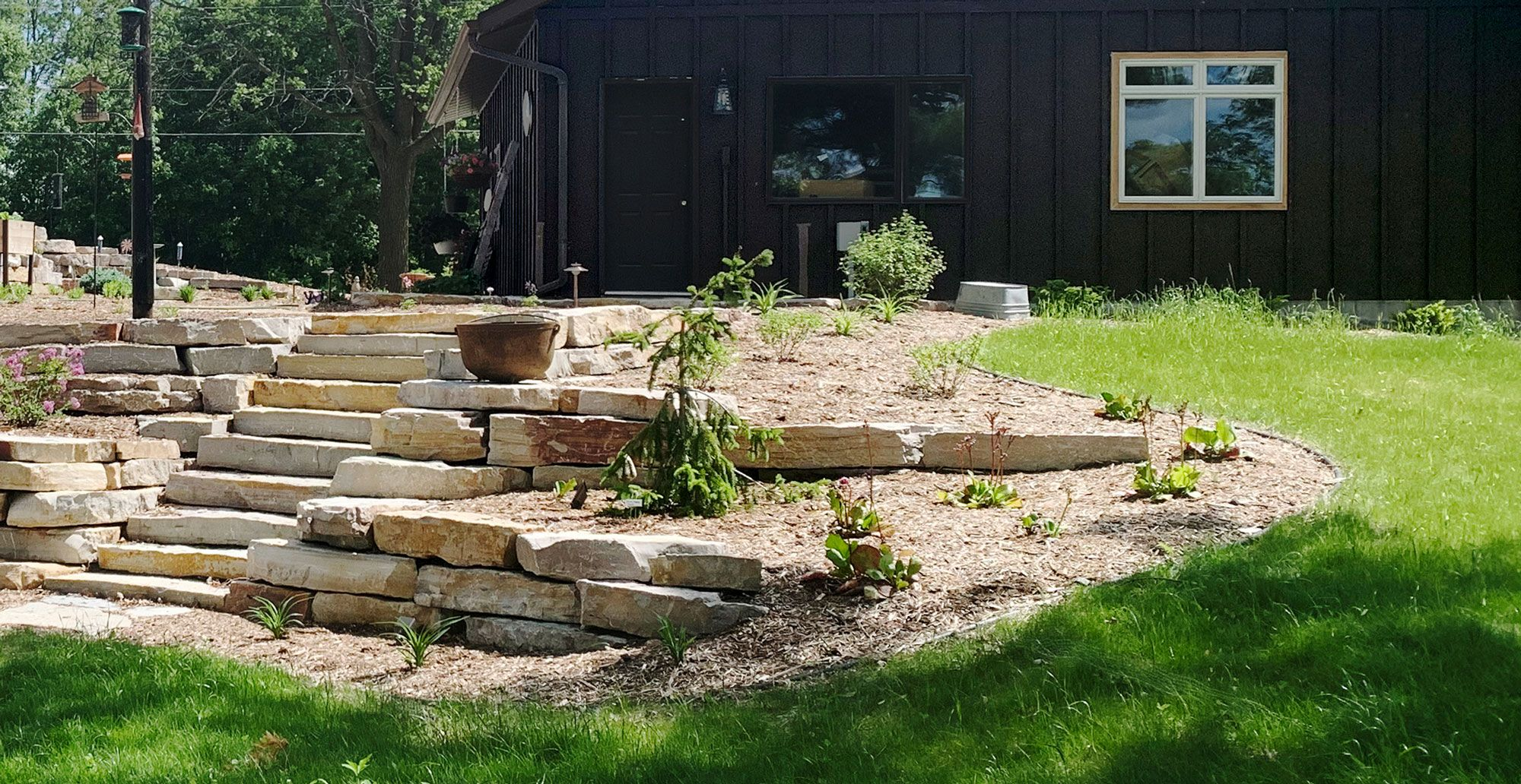 Chilton Stone Outcroppings Retaining Wall Stone Steps Landscape Design Hardscape Backyard Stone Wall Landscape Design