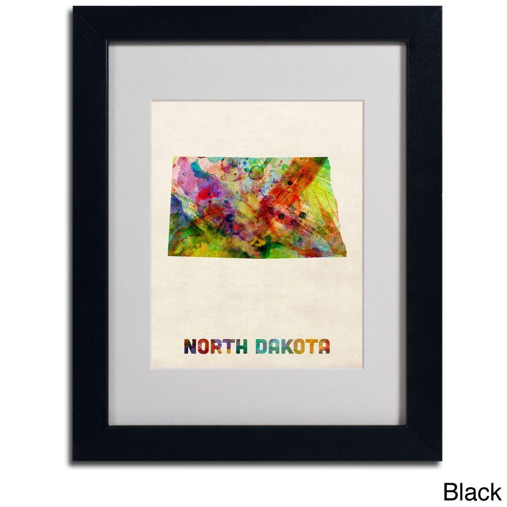 Michael Tompsett 'North Dakota Map Framed Matted Art