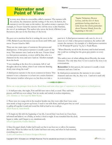 Point Of View Worksheets Short Passage Point Of View Student