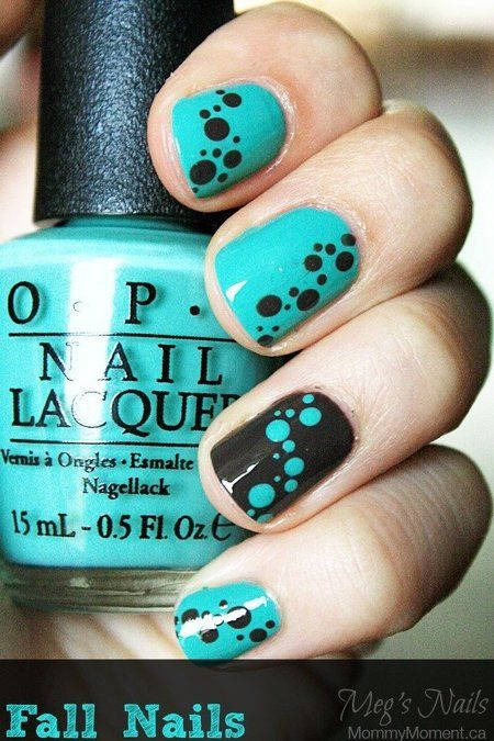 cute fall mani with dots amazing