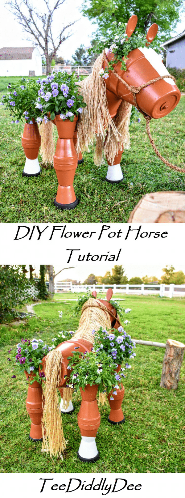 DIY Clay Horse Flower Pot Tutorial #flowerpot