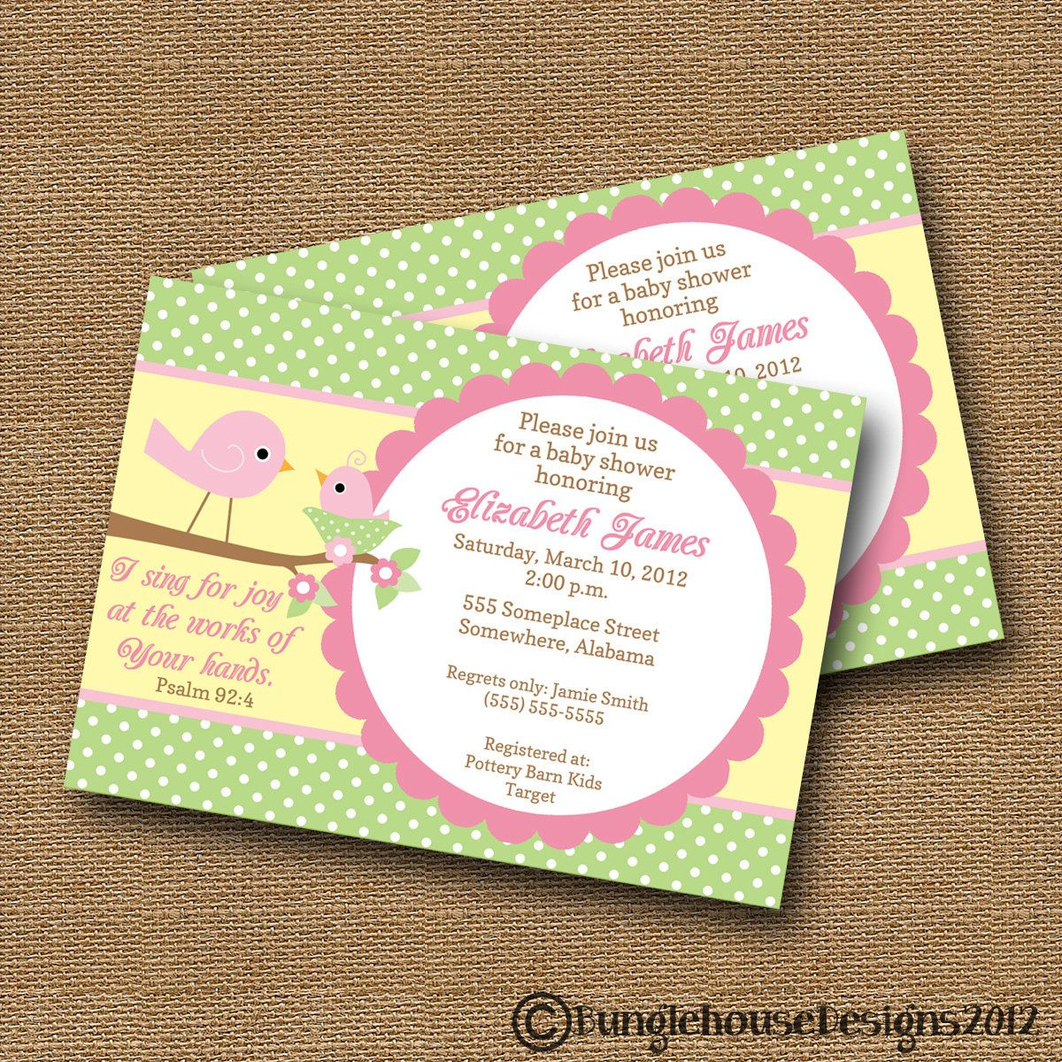 Bird Baby Shower Invitation DIY PRINTABLE Baby Girl Christian ...