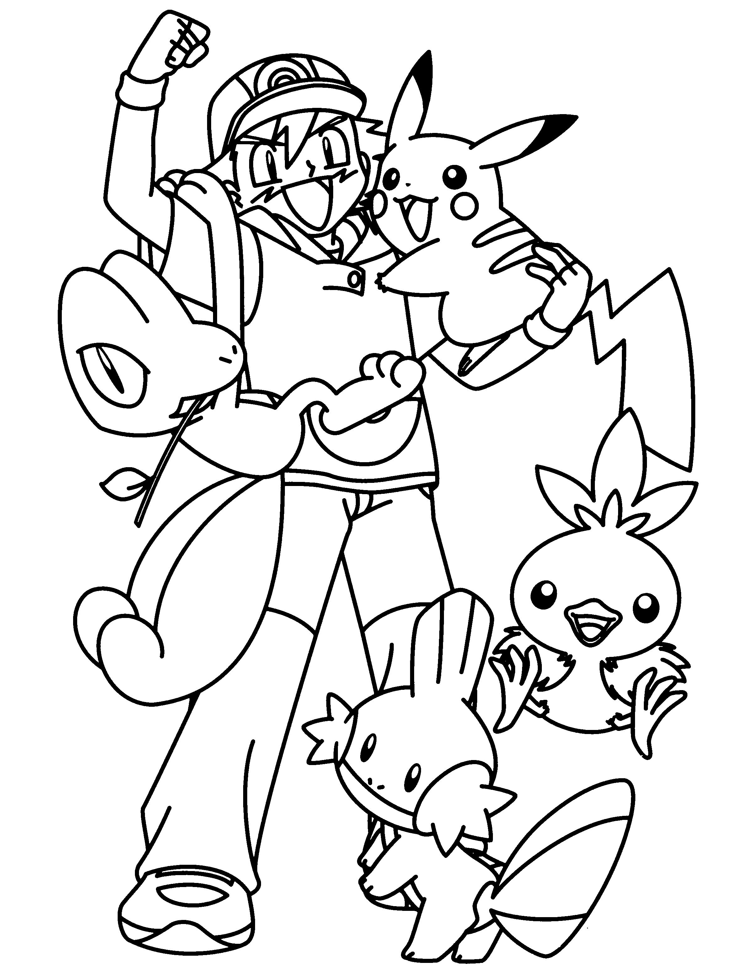 Pokemon Ash Coloring Pages Download Kartun