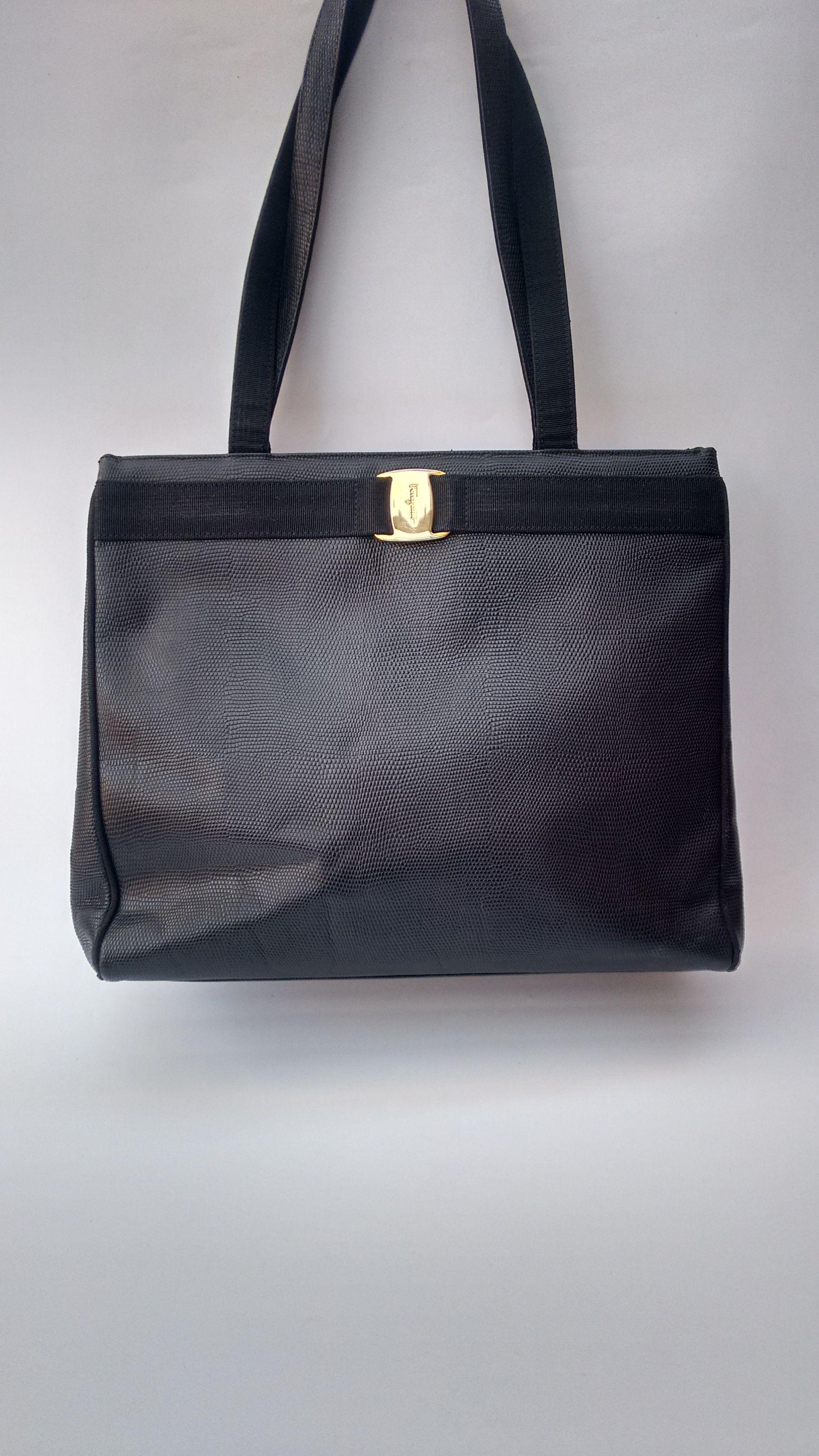 SALVATORE FERRAGAMO Vintage Black Textured Lizard Embossed Leather Shoulder  Tote Bag. Italian Designer Purse. 9571fa418b