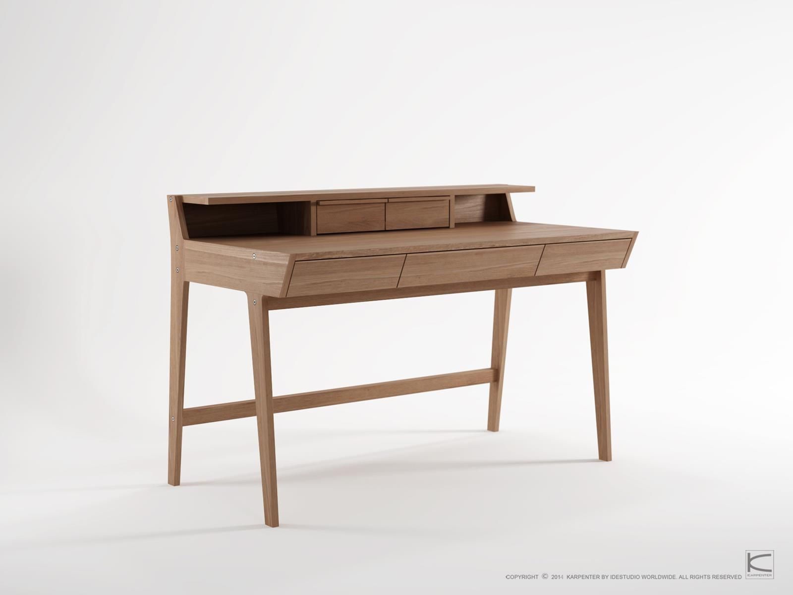 The Karpenter Writing Desk Draws On Inspiration From The Clean Lines And Soft Angles Of Scandin Wooden Writing Desk Desk With Drawers Writing Desk With Drawers