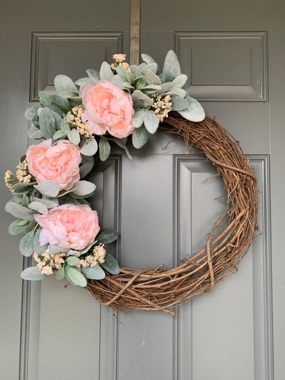 Photo of Spring wreaths for the front door, wreaths for the front door, spring wreaths, spring peony wreath, lamb ear, spring wreath, front door wreath
