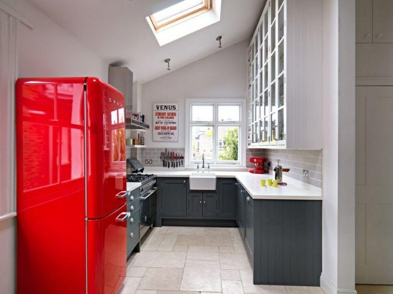 Cuisine rouge et grise qui incarne l\u0027idée d\u0027une vie moderne - Photo Cuisine Rouge Et Grise