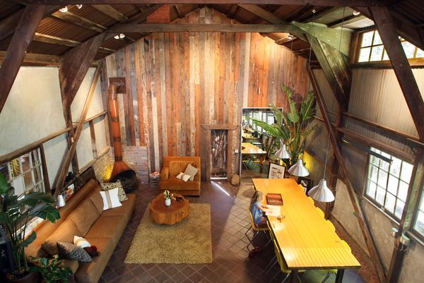 Inside pole barn homes costa mesa barn turned into a for Metal buildings made into houses
