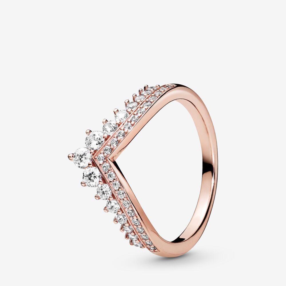 Princess Wishbone Ring, 14k Rose Gold-plated unique metal blend,   Pandora rose gold rings