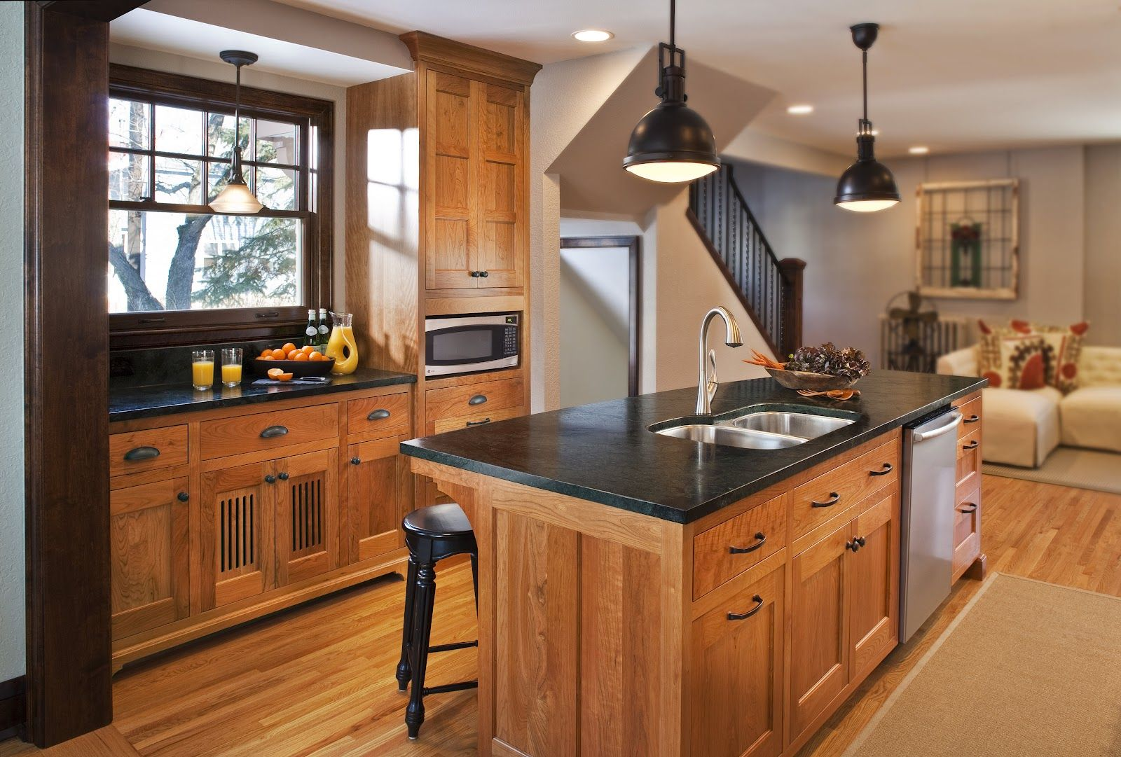 natural oak with soapstone counter tops