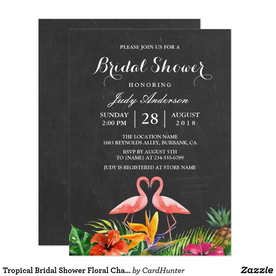 Tropical Bridal Shower Floral Chalkboard Flamingo Card Bridal
