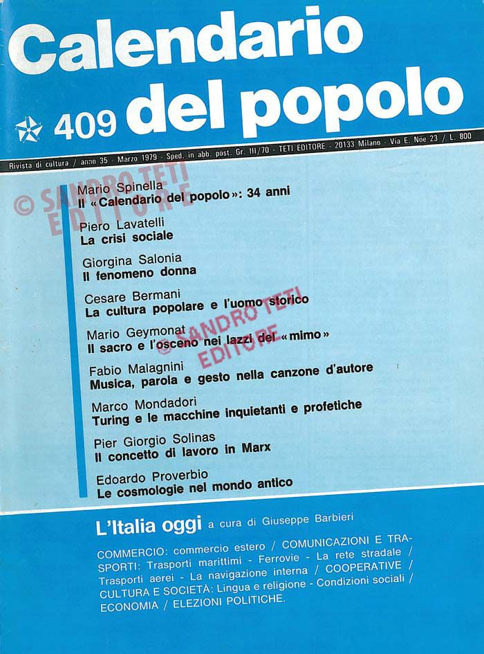 Calendario Del 1979.Il Calendario Del Popolo N 409 1979 Il Calendario Del