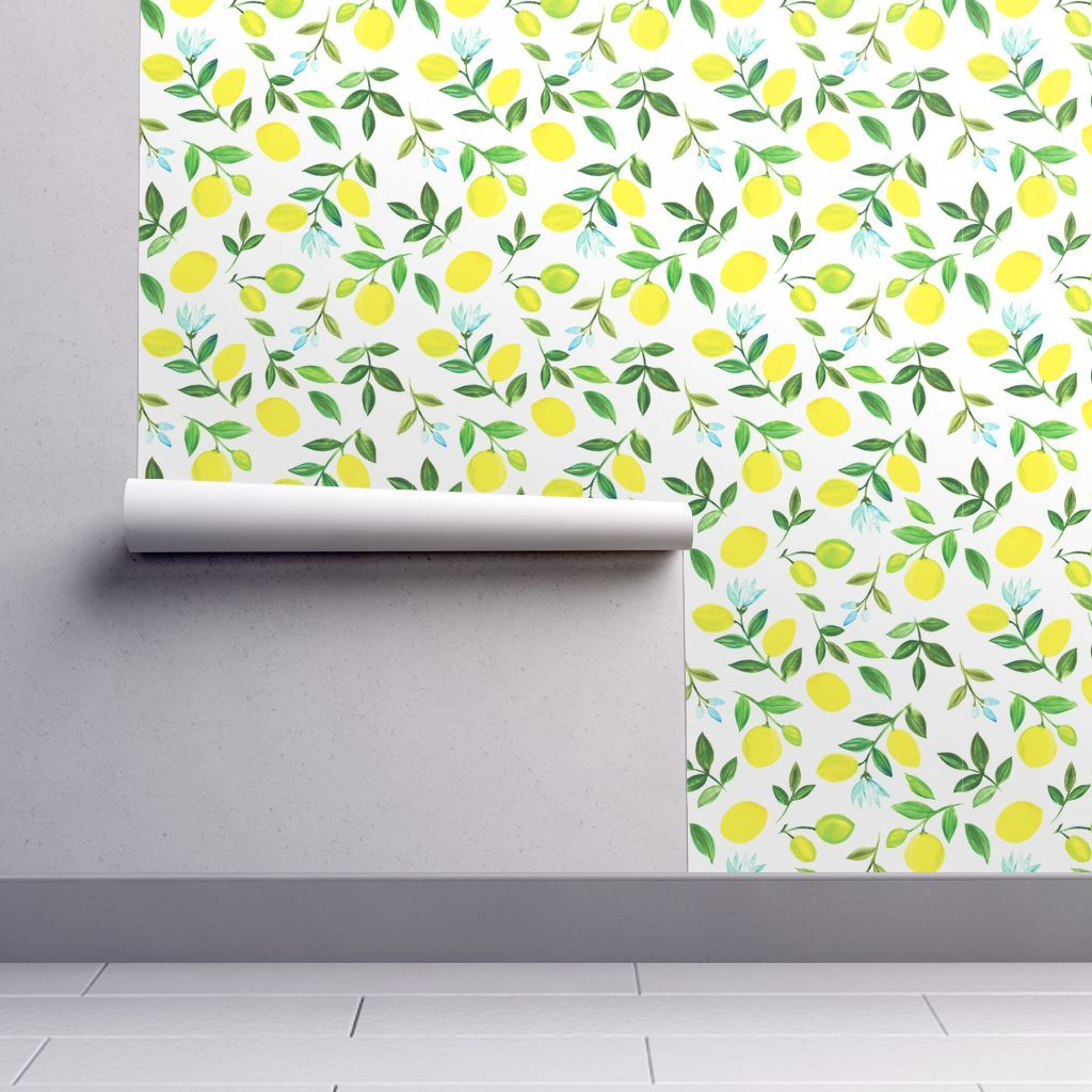 Isobar Durable Wallpaper Featuring Watercolor Lemons By Dariara Roostery Home Decor Wallpaper Peel And Stick Wallpaper Kitchen Wallpaper