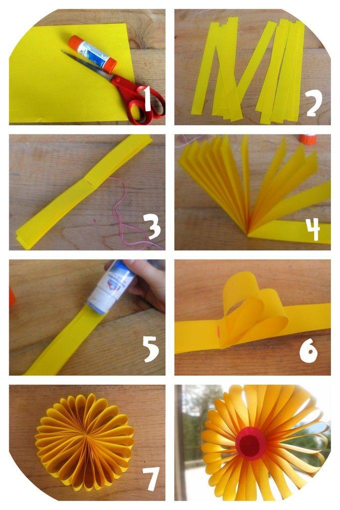 Tournesol En Papier Brico Pinterest Fleur Papier Bricolage Enfant Et Pliage
