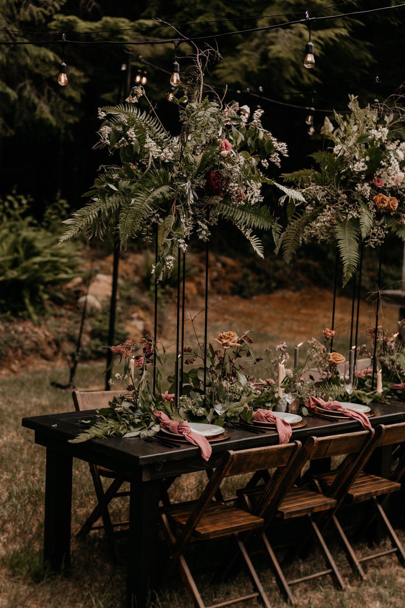PNW Cabin Elopement Moody Wedding Table Decor