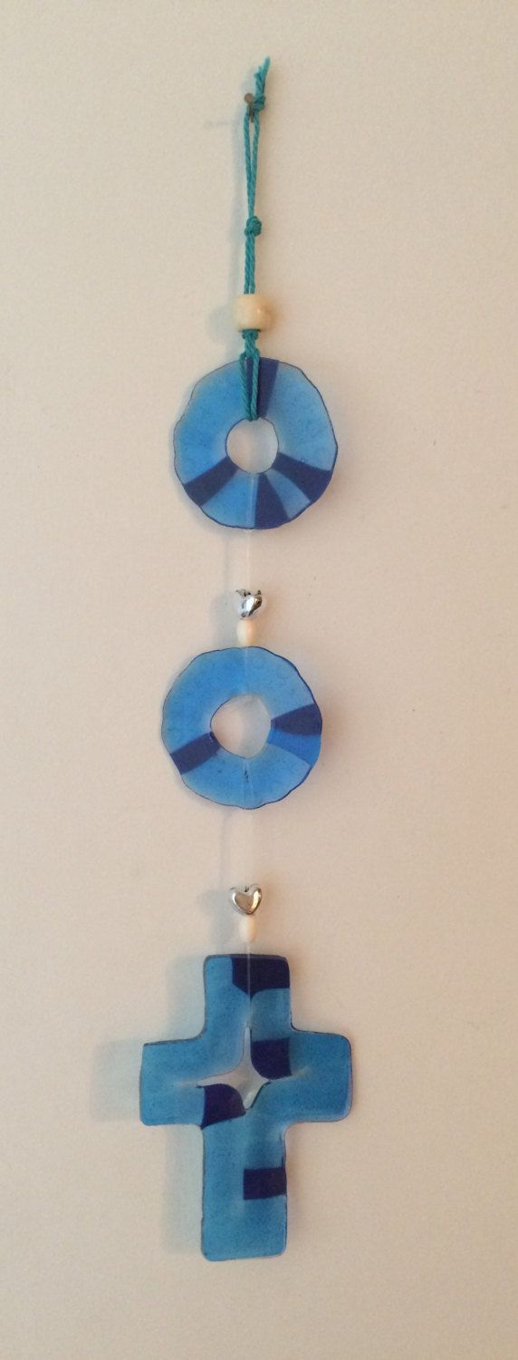 Blue Cross and circles Recycled Melted Beads Rainbow Suncatcher Mobile by BombPopBoutique on Etsy